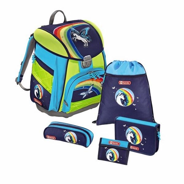 Udělejte vašemu školákovi radost zeleno-modrou aktovkou s motivem  okřídleného koně. 5-dílný set obsahuje  aktovku 1fa9685e3c